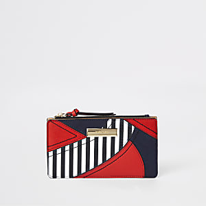 Red stripe cutabout panel slim foldout purse