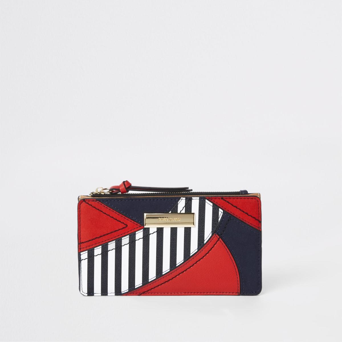 Red stripe cutabout panel slim foldout purse