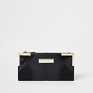 Black metal corner textured foldout purse
