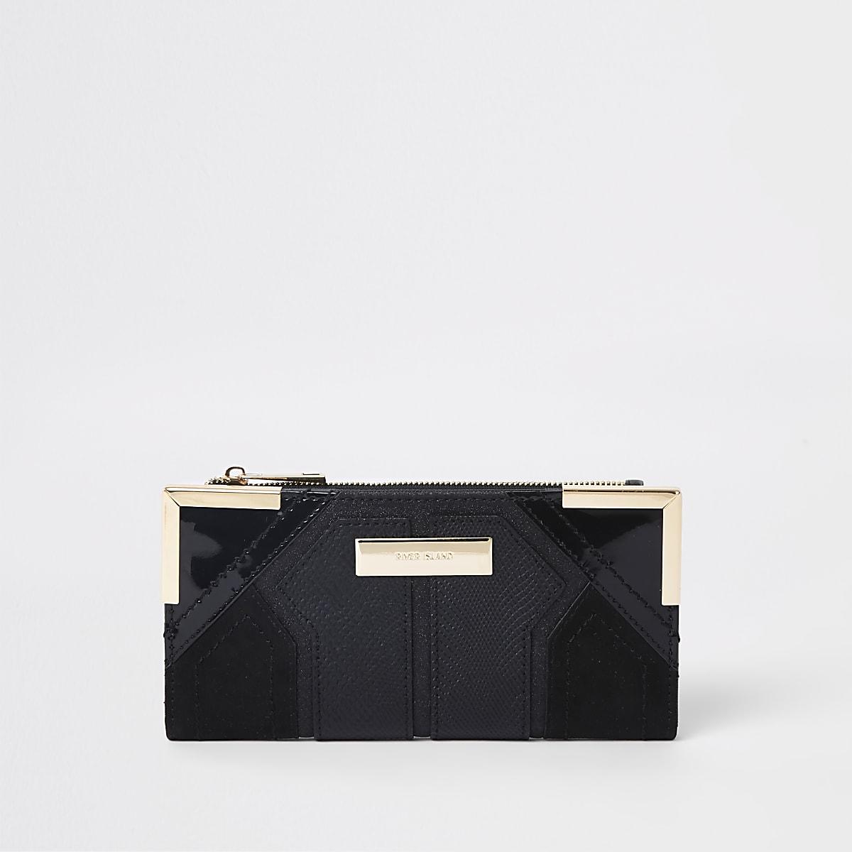 Zwarte uitvouwbare portemonnee met textuur en metalen hoekjes
