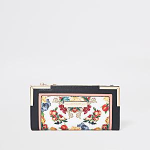 Porte-monnaie à fleurs blanc avec rabat et découpe