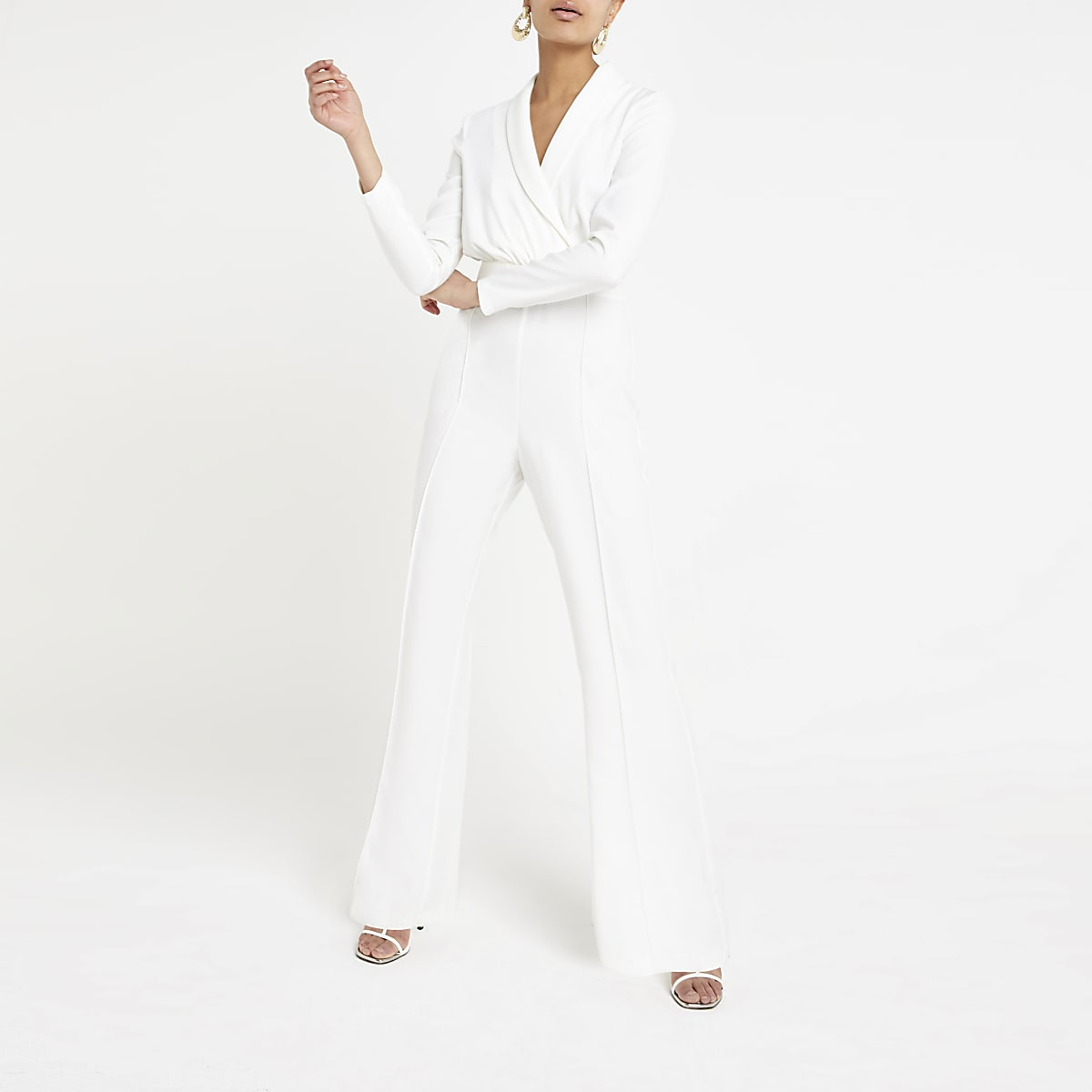 White wrap front jumpsuit
