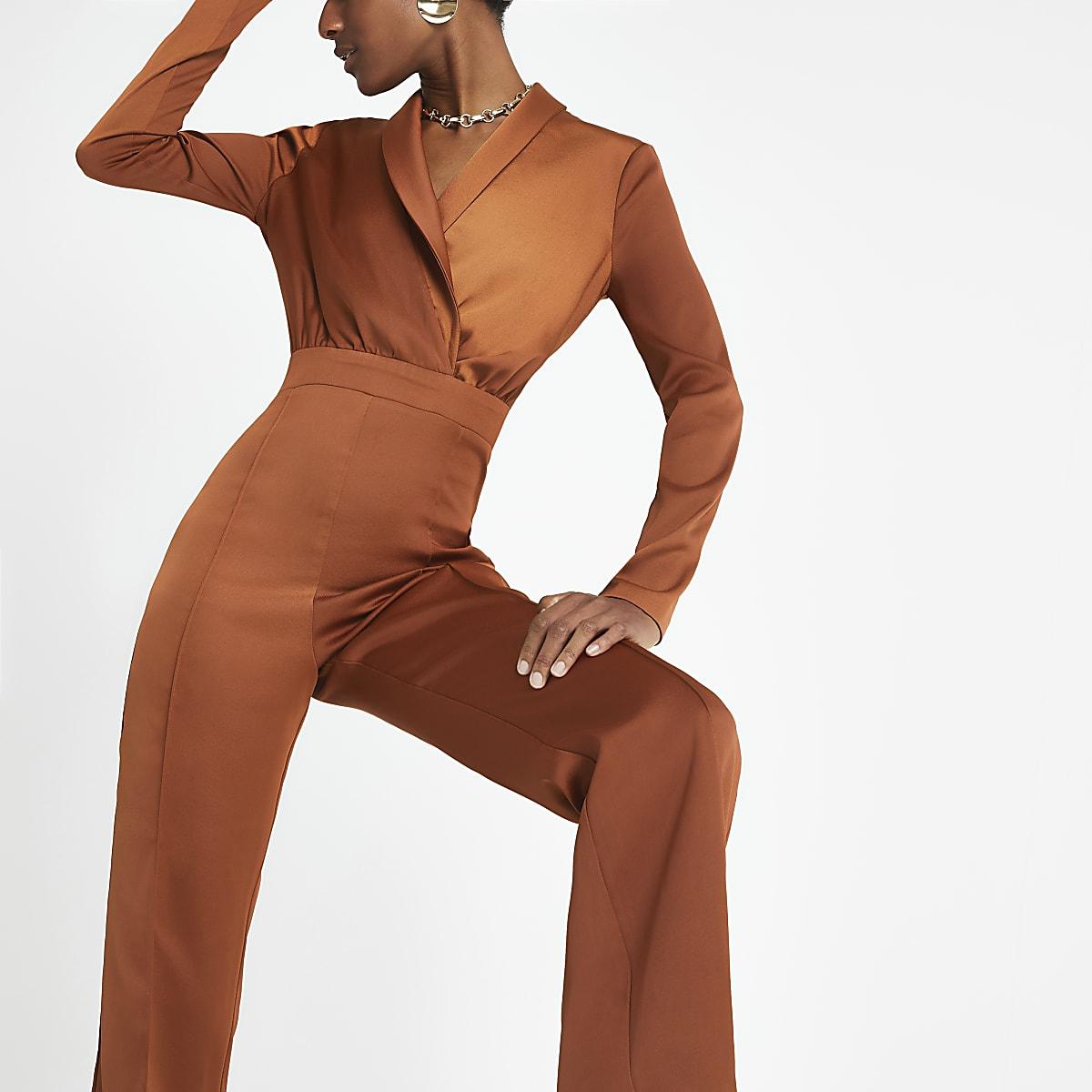 Rust satin wrap front jumpsuit