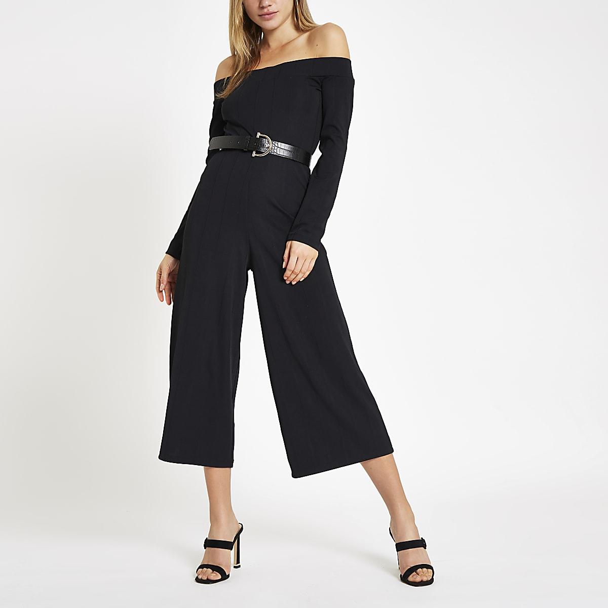 Zwarte geribbelde jumpsuit in bardotstijl met wijde pijpen