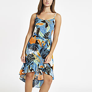 Blue palm print tie waist beach dress