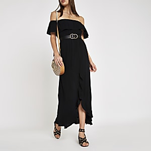 Black bardot shirred maxi dress