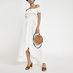 White bardot maxi dress