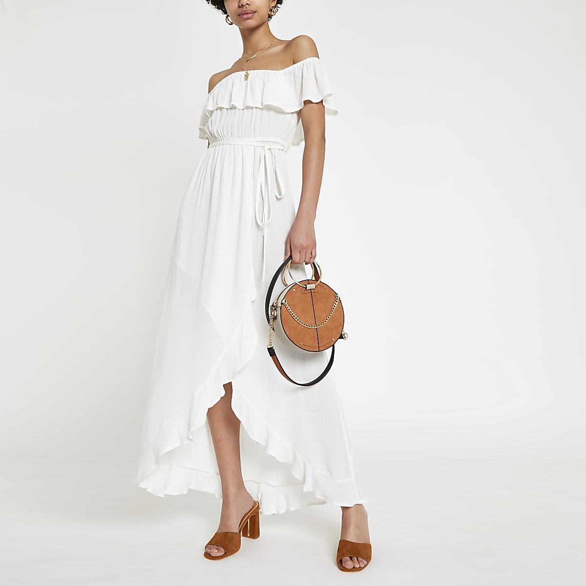 Witte bardot-maxi-jurk