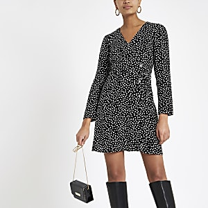 Black spot tie waist tea dress
