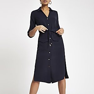 Navy tie waist midi shirt dress