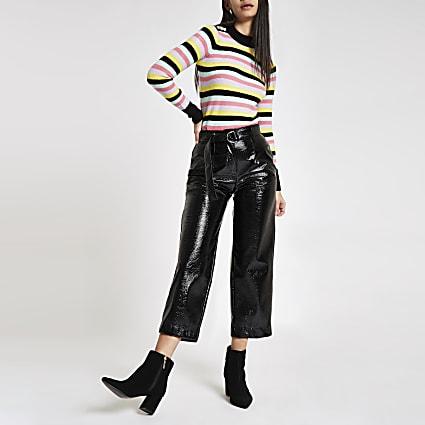 Black multi stripe crew neck jumper