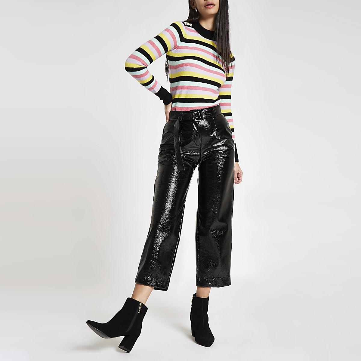 Black multi stripe crew neck sweater