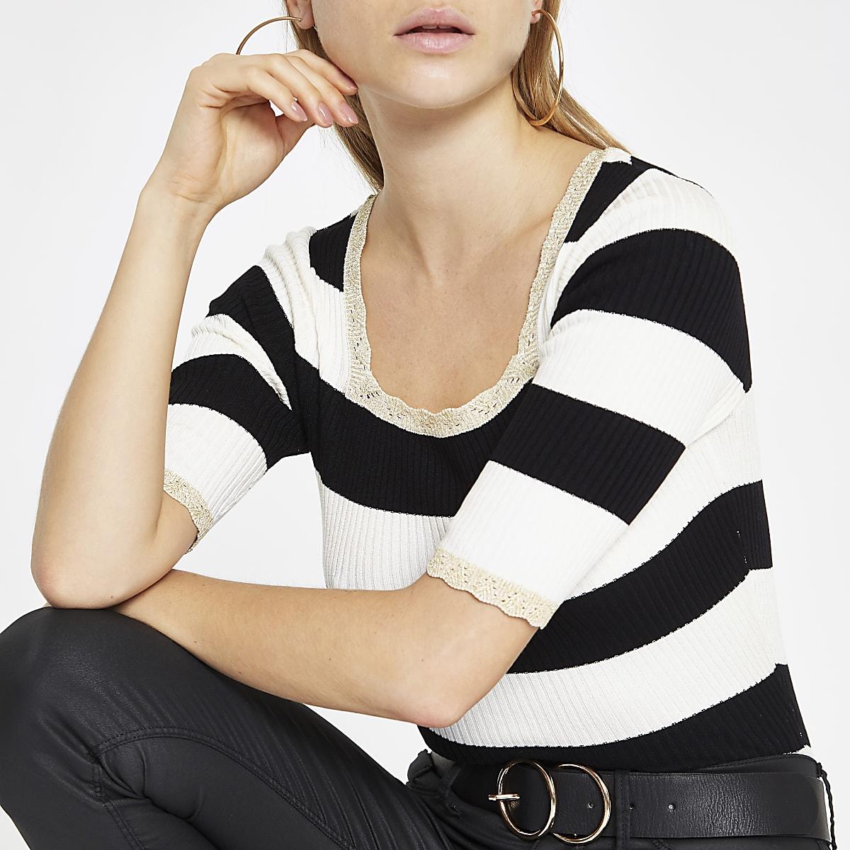 White stripe square neck crop T-shirt