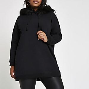 Plus black faux fur trim hoodie