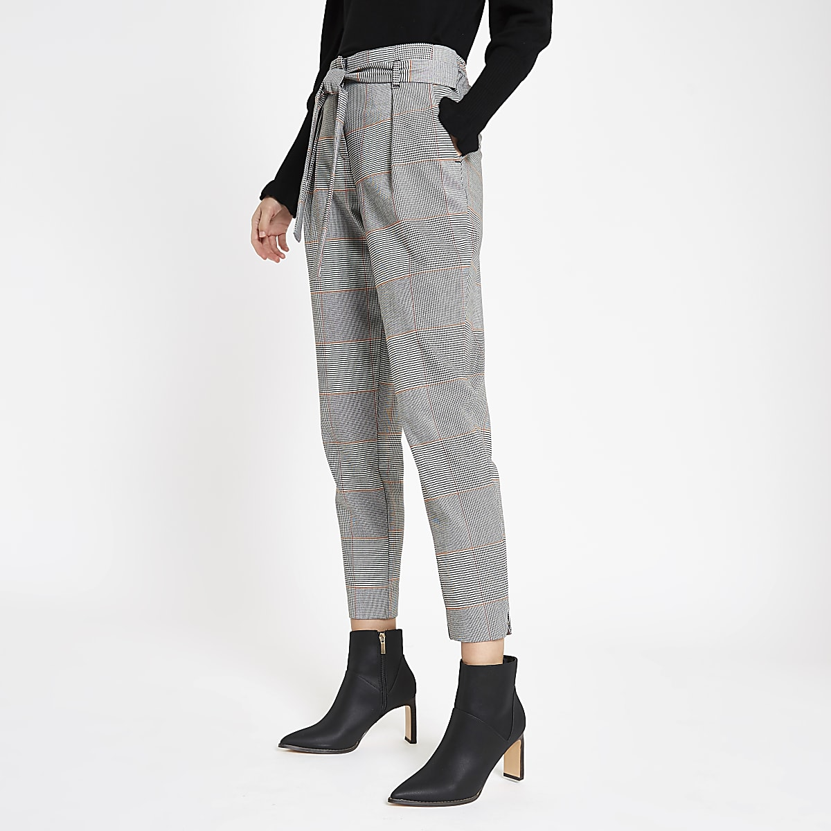 5a2e5dbcb1cbd9 Orange check tie waist trousers - Tapered Trousers - Trousers - women