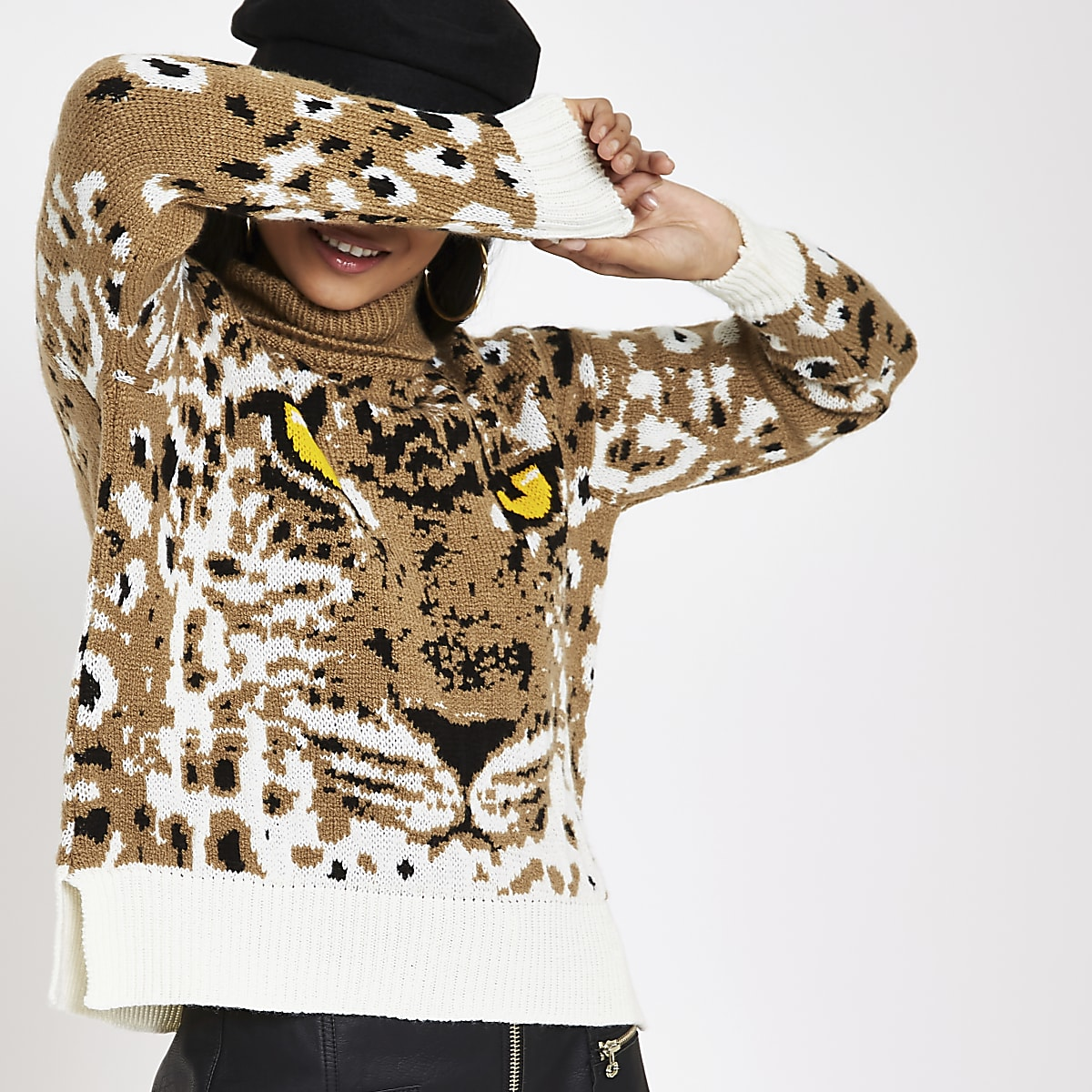 Petite brown tiger print roll neck jumper