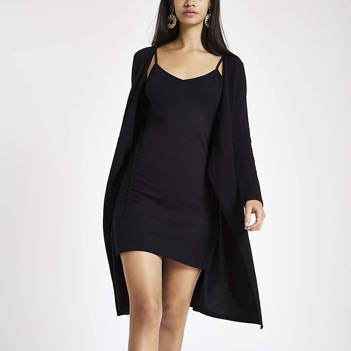 Black wrap tie dress