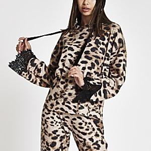 Brown brushed leopard print loungewear hoodie