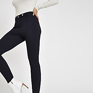 Navy button ponte skinny pants