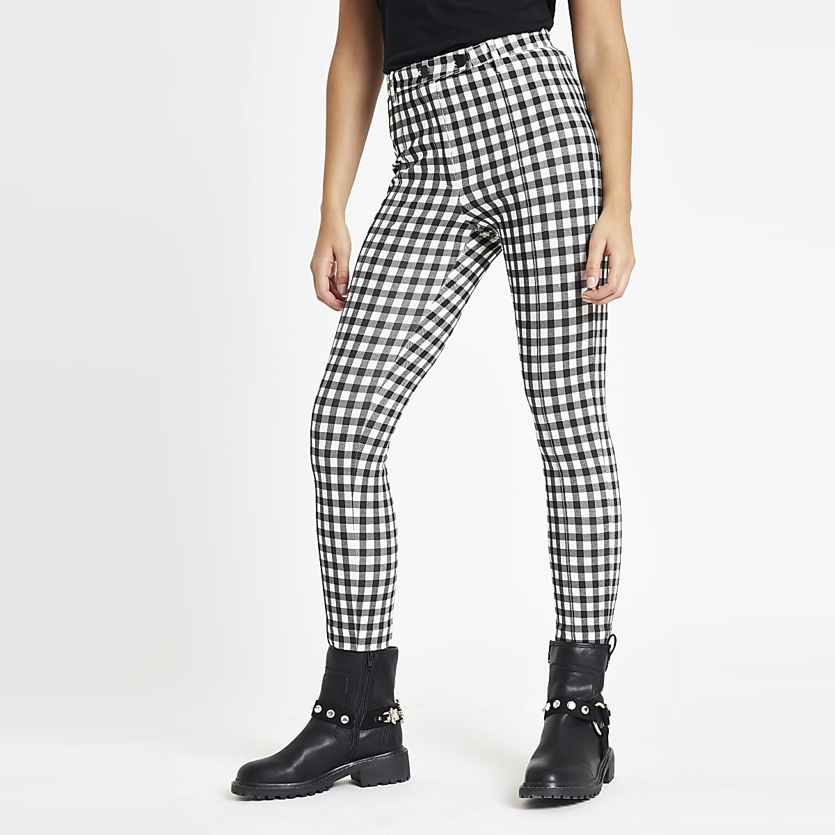 Black gingham skinny ponte trousers