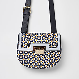 Blauw heuptasje met geometrische print en slot voor