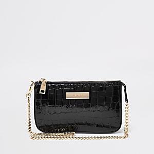 Black croc mini shoulder bag