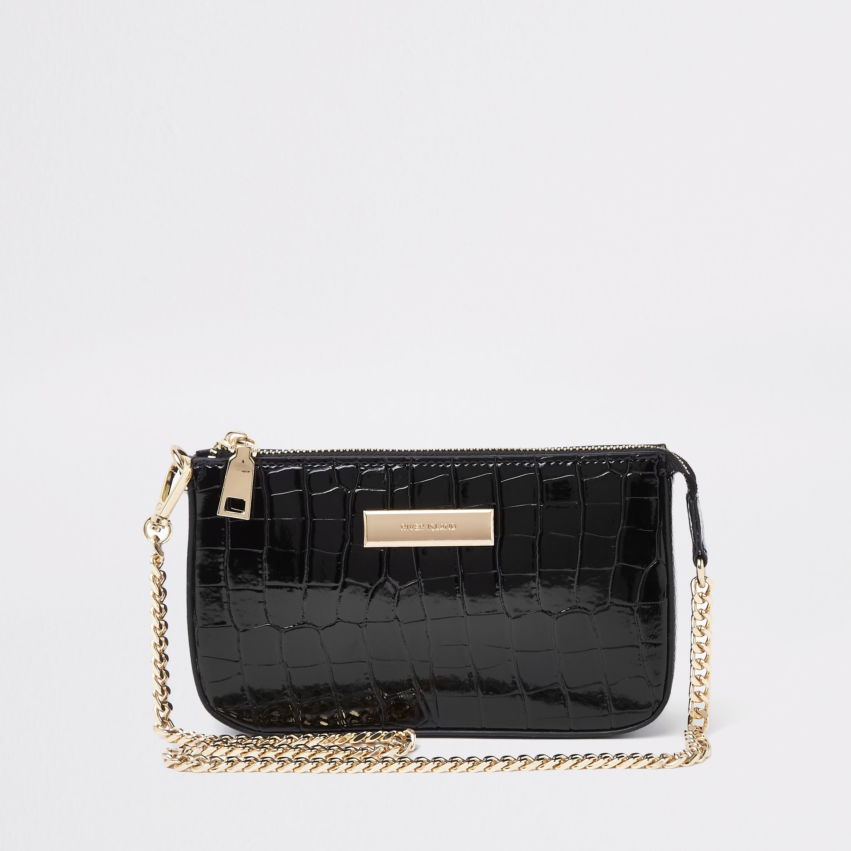 RIVER ISLAND | Womens Black Croc Mini Shoulder Bag | Goxip