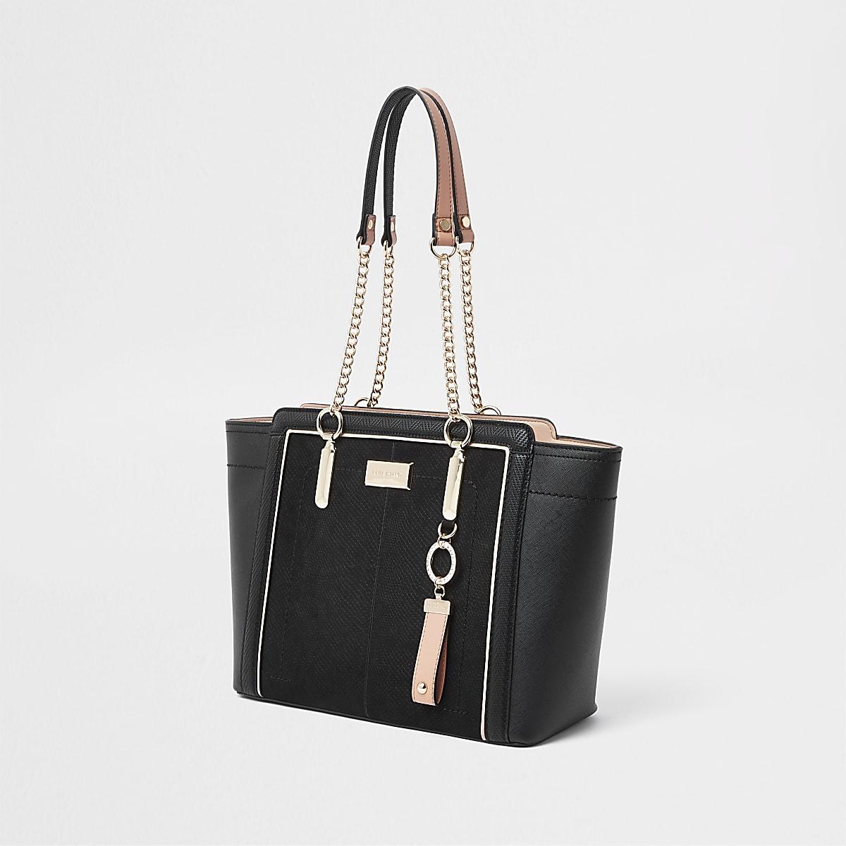 Zwarte handtas met ketting en zij-inzetten