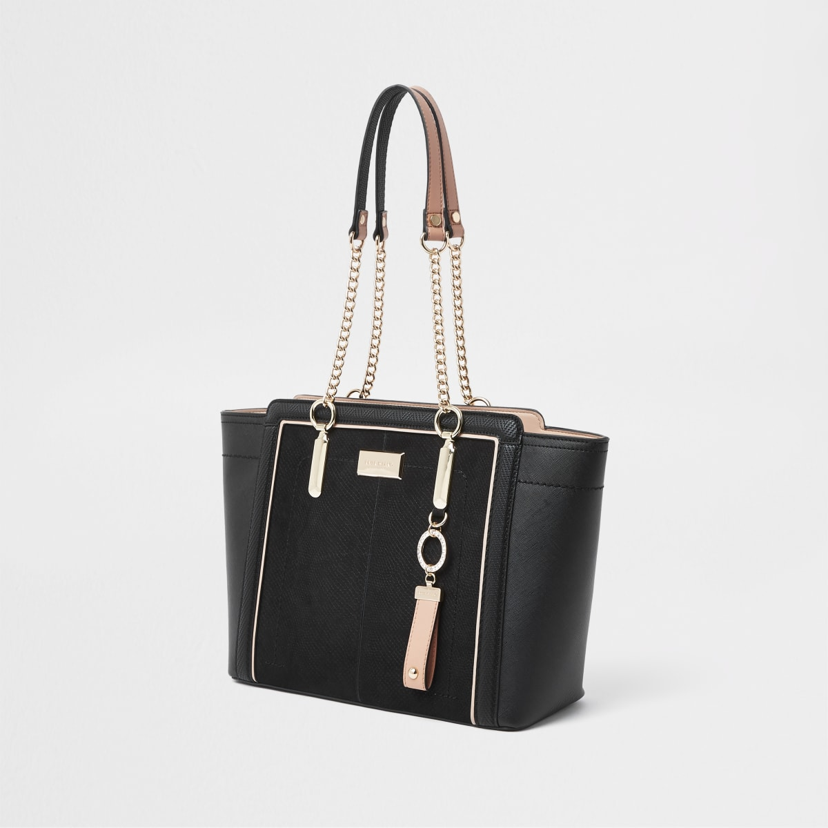 Black winged chain handle tote bag