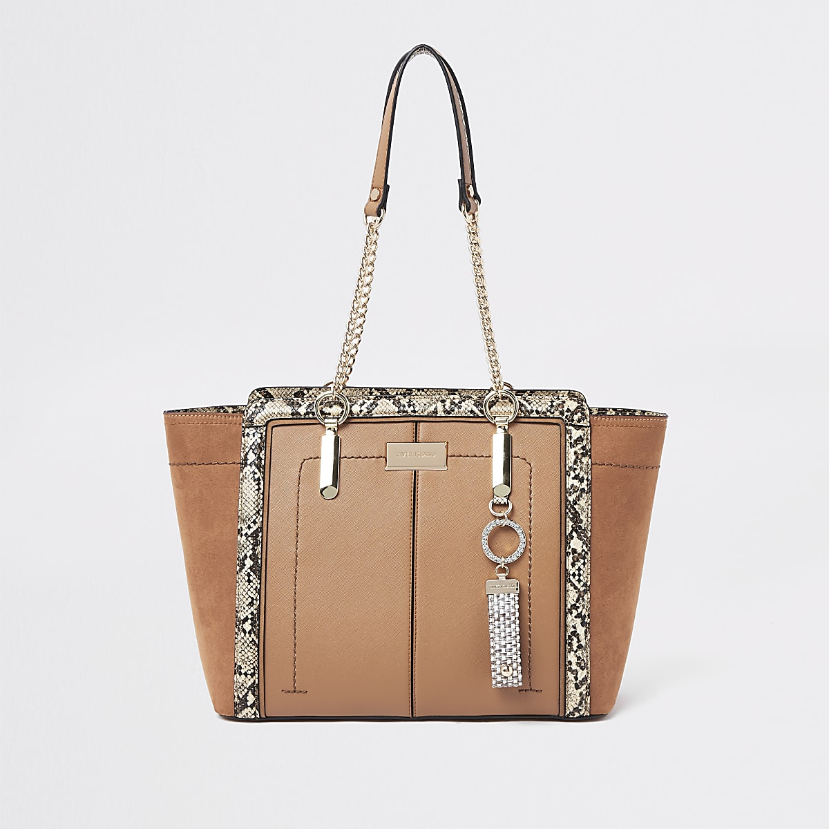 Light brown winged chain handle tote bag