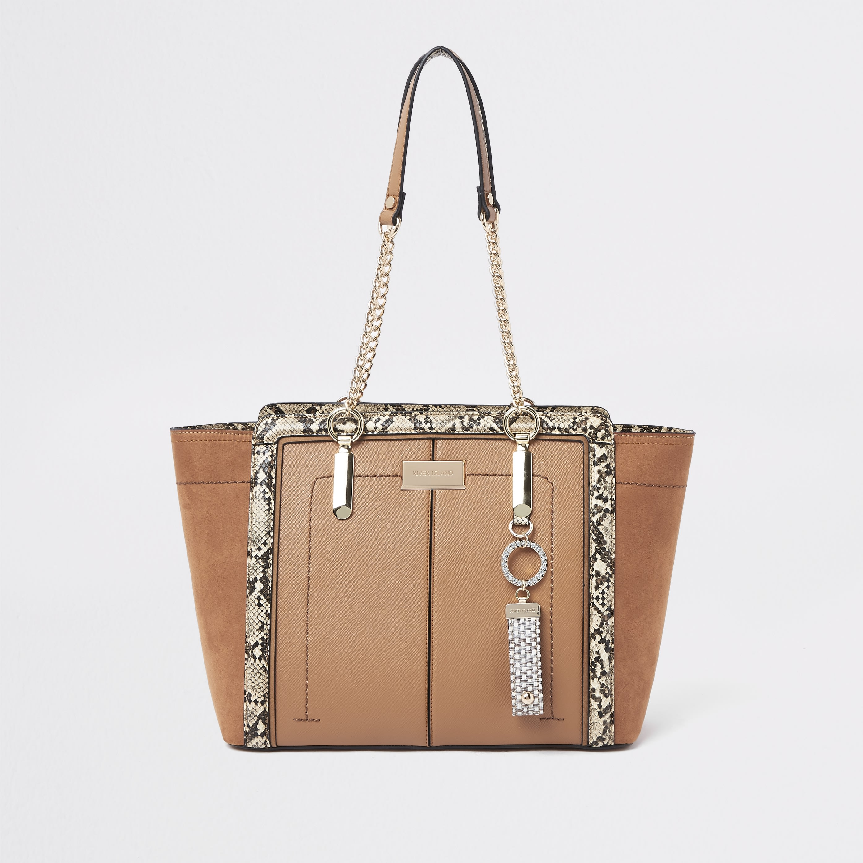 RIVER ISLAND | Womens Light Brown winged chain handle tote bag | Goxip