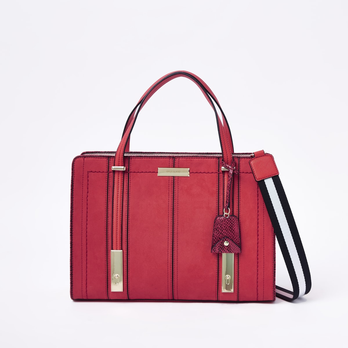 Red faux leather boxy tote bag