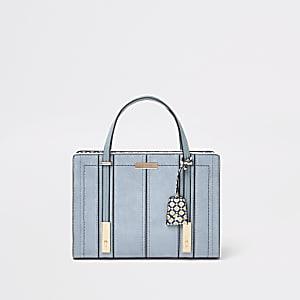Hellblaue Tote Bag aus Lederimitat