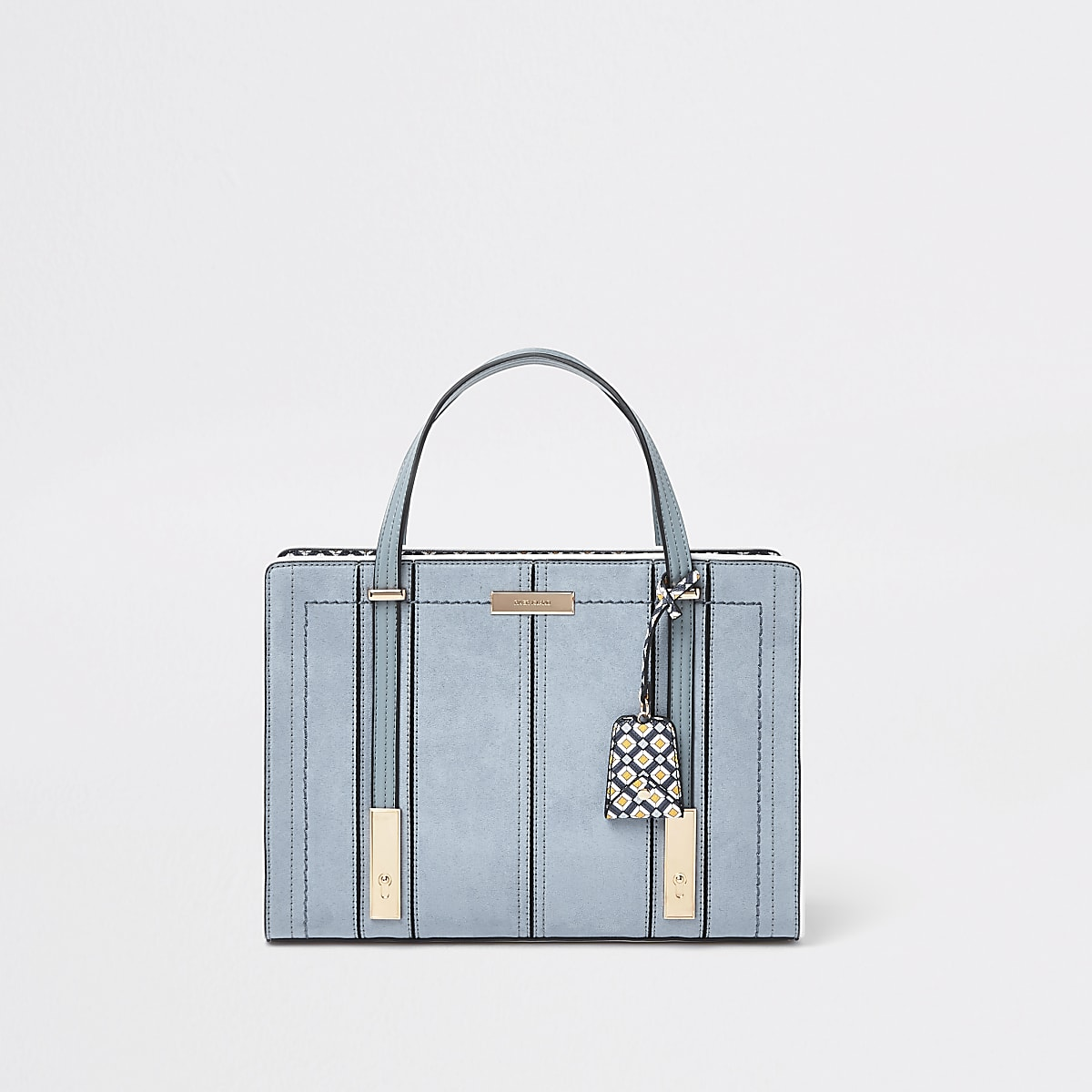 Light blue faux leather boxy tote bag