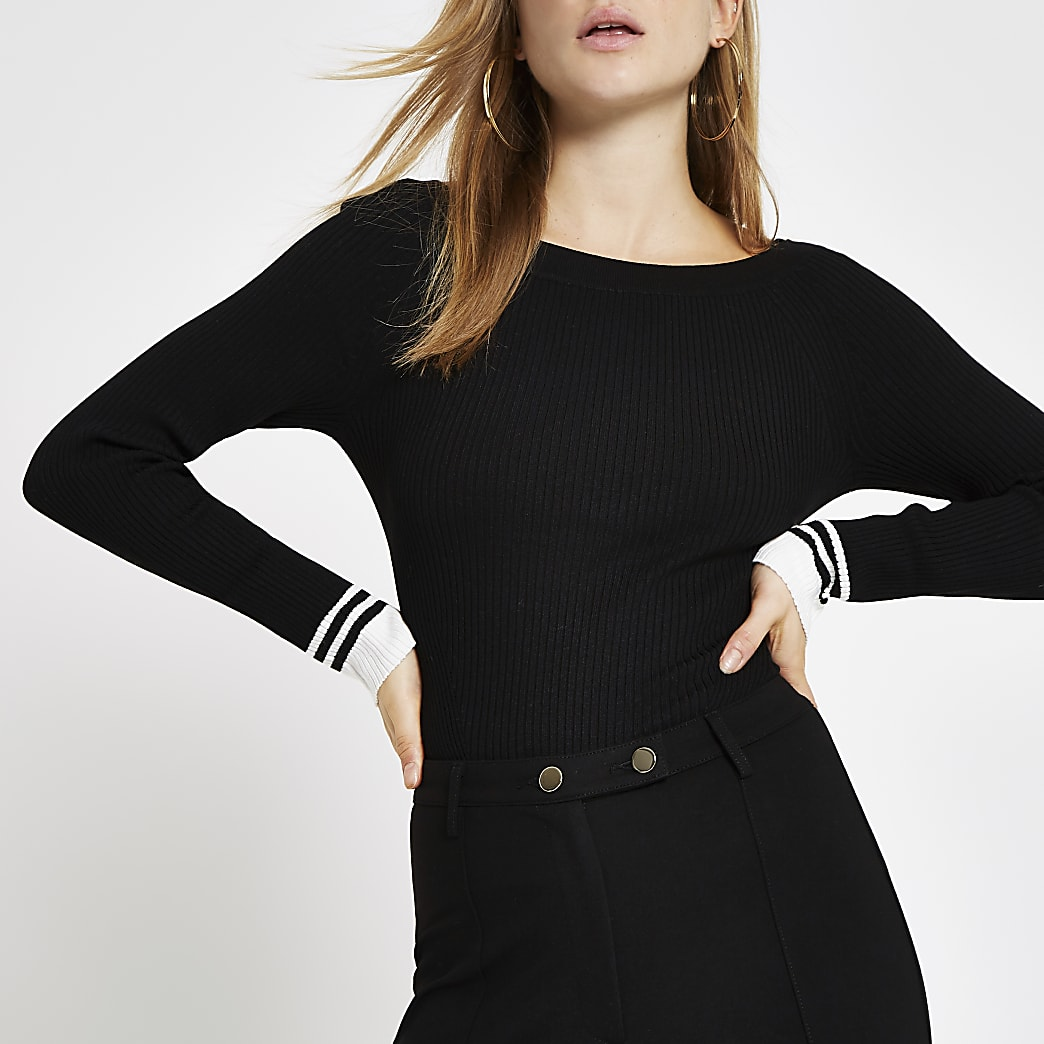 Black tipped boat neck top