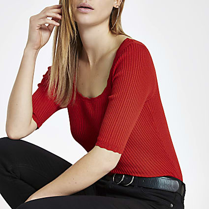 Red square neck crop T-shirt