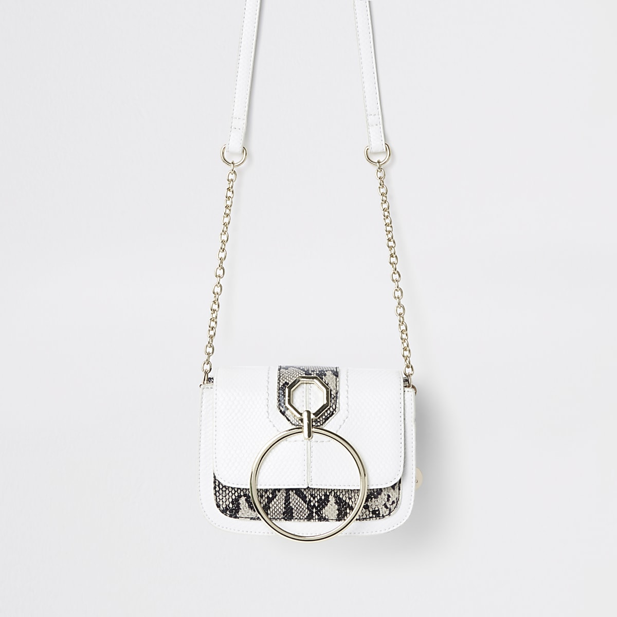 White ring front cross body bag