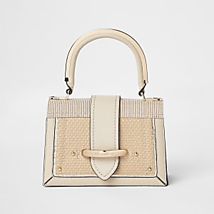 Beige woven metal handle cross body bag