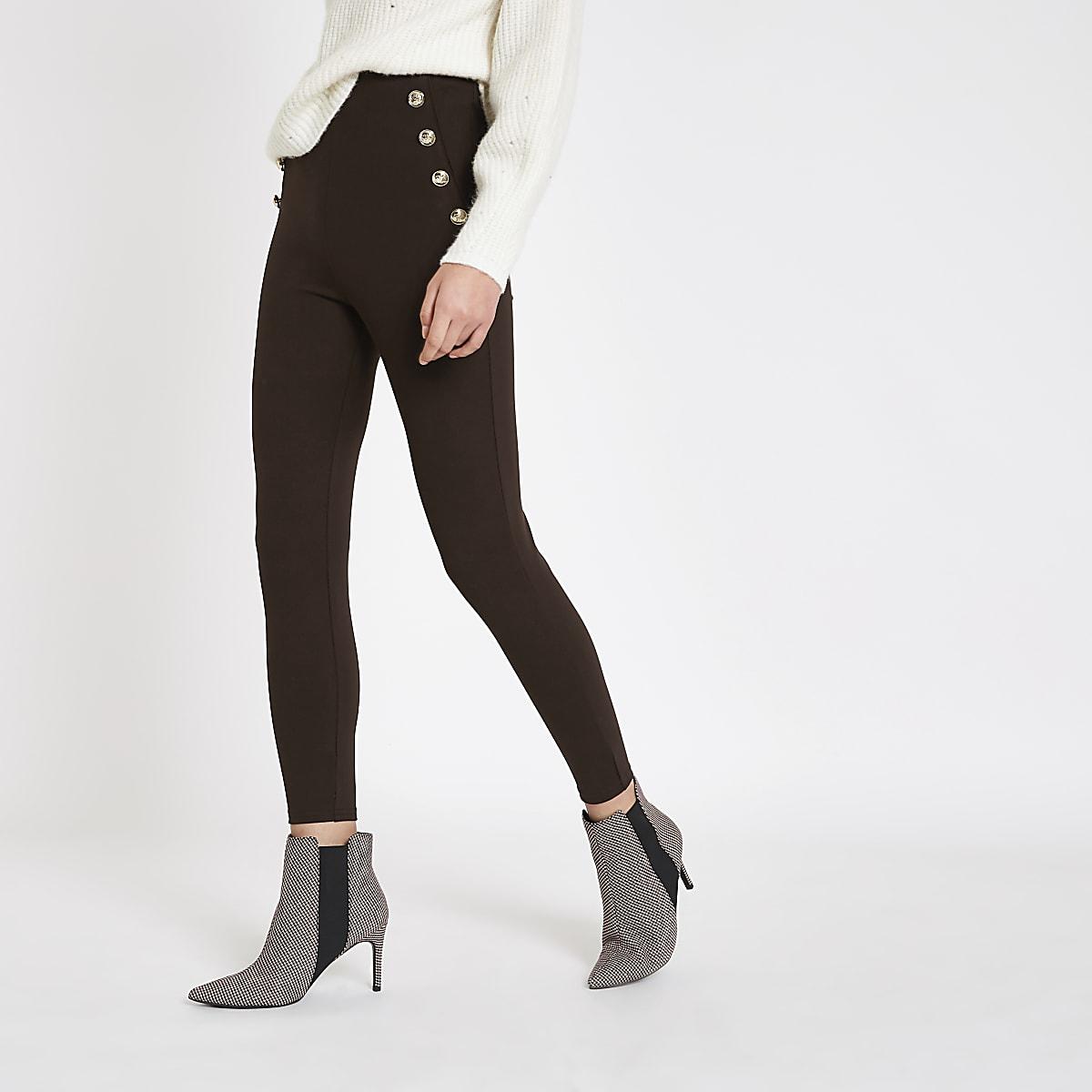 Dark brown button detail skinny pants