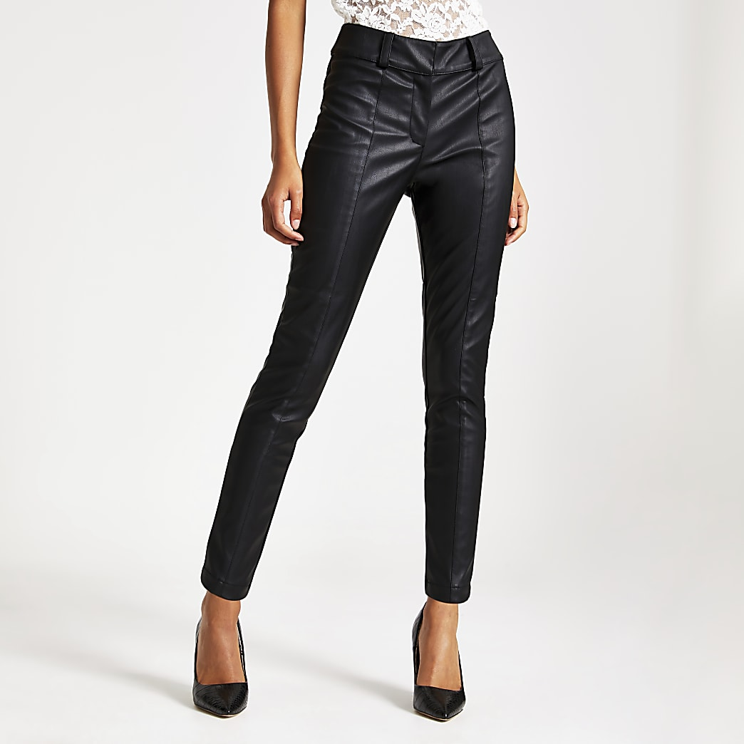 Black faux leather mid rise trousers