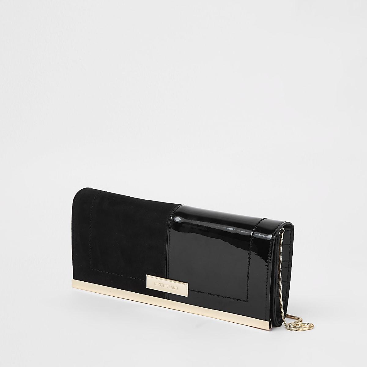 Black patent croc panel baguette clutch bag