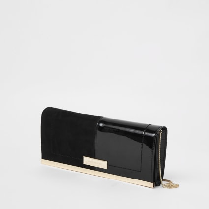 Black patent croc panel baguette clutch bag