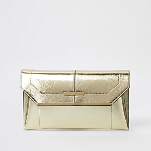 Gold metallic envelope clutch bag