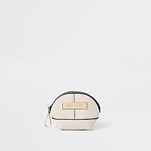 Mini porte-monnaie crème zippé