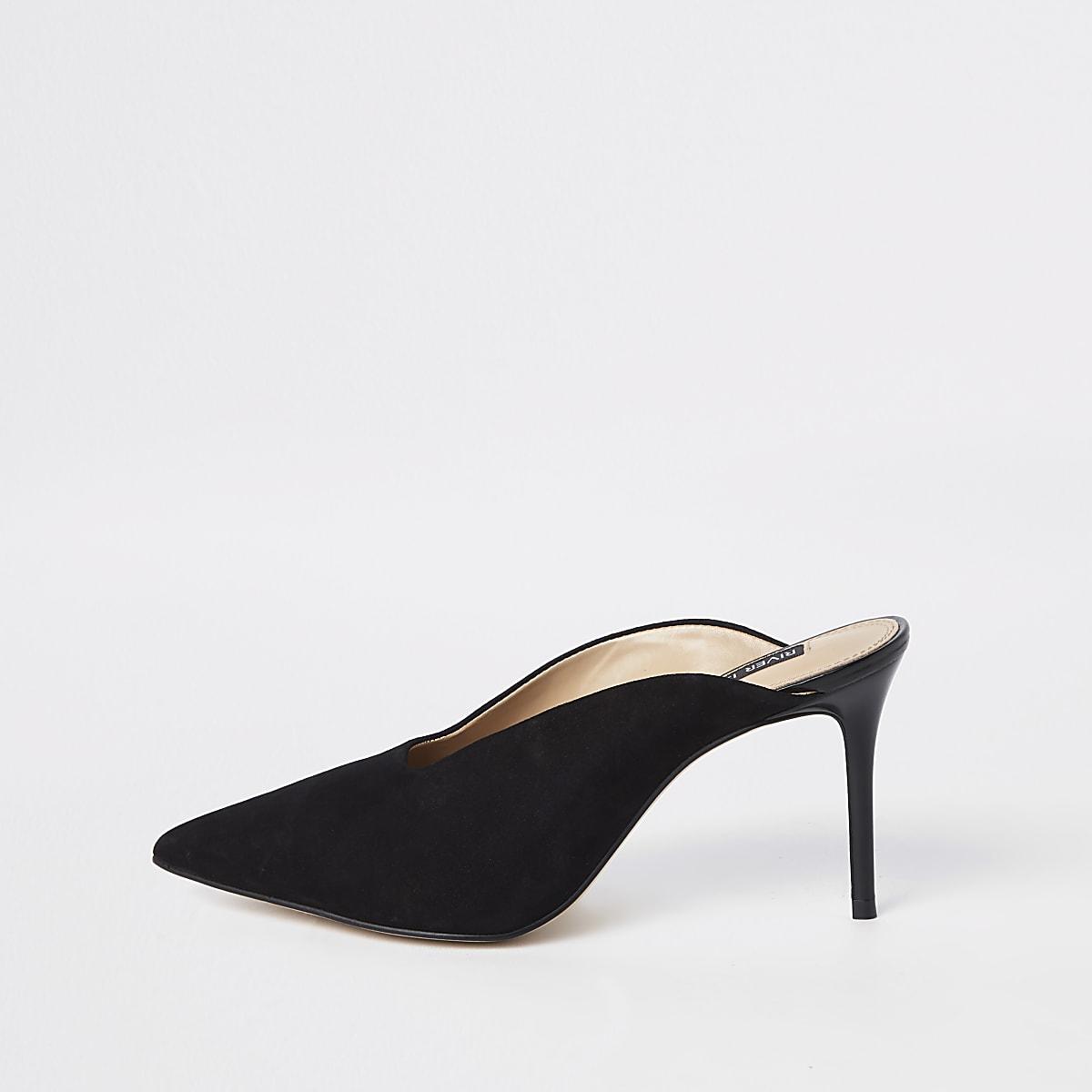 Black leather pointed toe slim heel mules