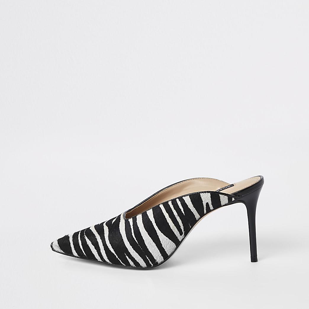 Black zebra print leather heel mules