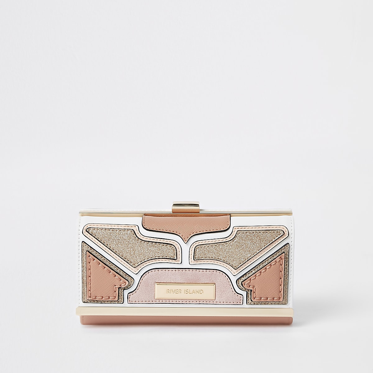 Light pink cutabout panel cliptop purse