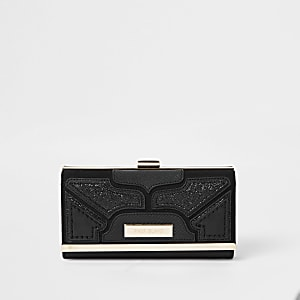 Black glitter cutabout panel cliptop purse