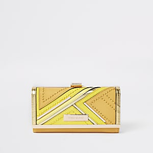 Yellow cutabout panel cliptop purse