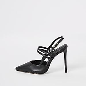 Escarpins à brides en cuir noir